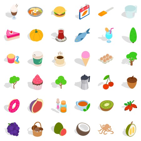 Vegetarian cafe icons set. Isometric style of 36 vegetarian cafe vector icons for web isolated on white background