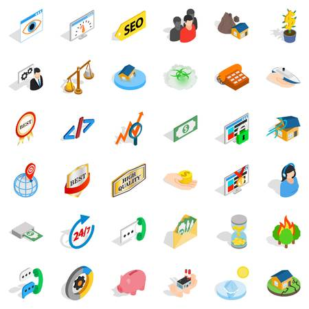 Call center icons set. Isometric style of 36 call center vector icons for web isolated on white background