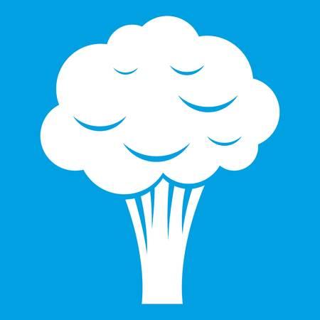 Broccoli icon white isolated on blue background vector illustration Illustration