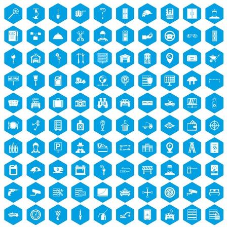 drill: 100 keys icons set blue illustration. Illustration