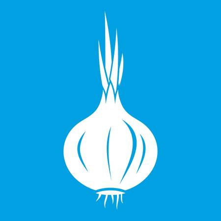 Onion icon white isolated on blue background vector illustration