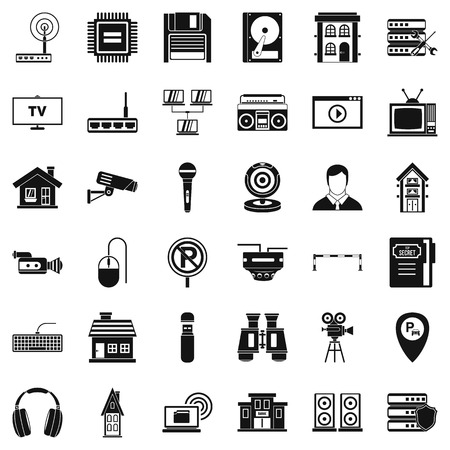 Bank camera icons set. Simple style of 36 bank camera vector icons for web isolated on white background