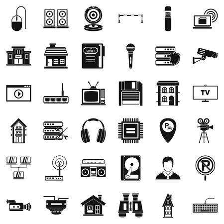 Safe camera icons set. Simple style of 36 safe camera vector icons for web isolated on white background Illustration