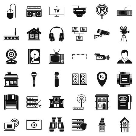New camera icons set. Simple style of 36 planning vector icons for web isolated on white background