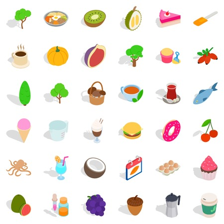 Cafe icons set. Isometric style of 36 cafe vector icons for web isolated on white background