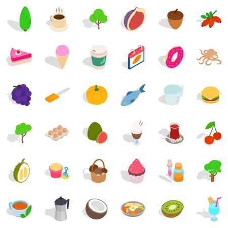Good cafe icons set. Isometric style of 36 good cafe vector icons for web isolated on white background