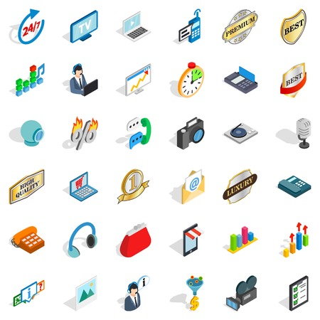 best book: Its support icons set. Isometric style of 36 its support vector icons for web isolated on white background