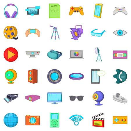 wav: Camera film icons set. Cartoon style of 36 camera film vector icons for web isolated on white background