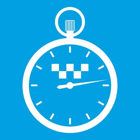 Speedometer in taxi icon white isolated on blue background vector illustration Illustration