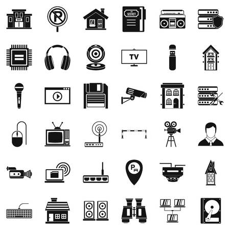 Camera icons set. Simple style of 36 camera vector icons for web isolated on white background