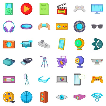 wav: Screen film icons set. Cartoon style of 36 screen film vector icons for web isolated on white background