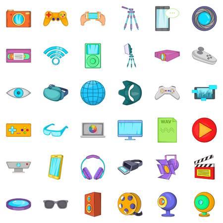 wav: Film studio icons set. Cartoon style of 36 Film studio vector icons for web isolated on white background