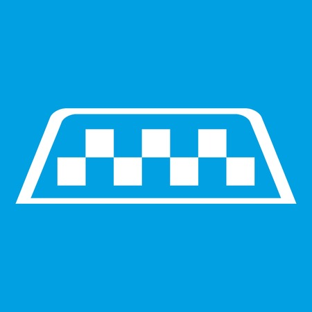 Checker taxi icon white isolated on blue background vector illustration