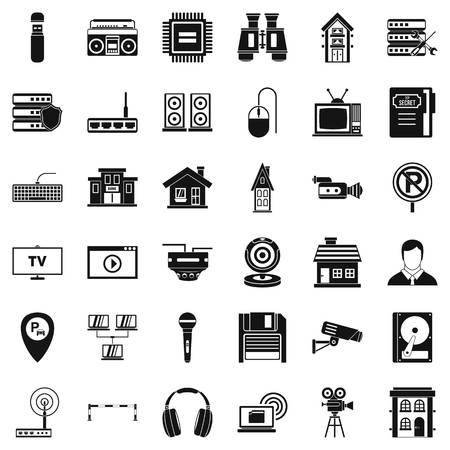 Studio camera icons set. Simple style of 36 studio camera vector icons for web isolated on white background