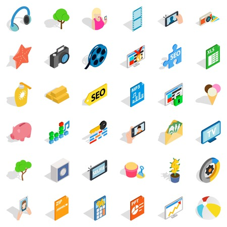 ppt: Seo support icons set. Isometric style of 36 seo support vector icons for web isolated on white background