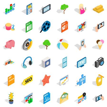 xls: Seo site icons set. Isometric style of 36 seo site vector icons for web isolated on white background