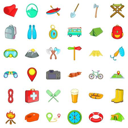 Forest walking icons set. Cartoon style of 36 forest walking vector icons for web isolated on white background