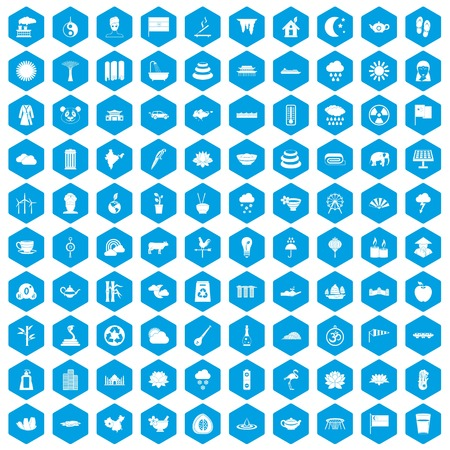 100 lotus icons set in blue hexagon isolated vector illustration Illustration