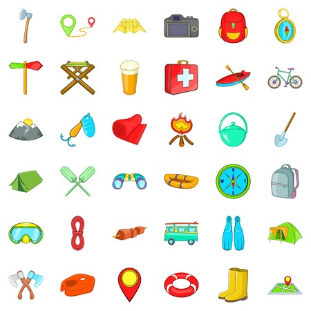 Hiking in nature icons set. Cartoon style of 36 hiking in nature vector icons for web isolated on white background