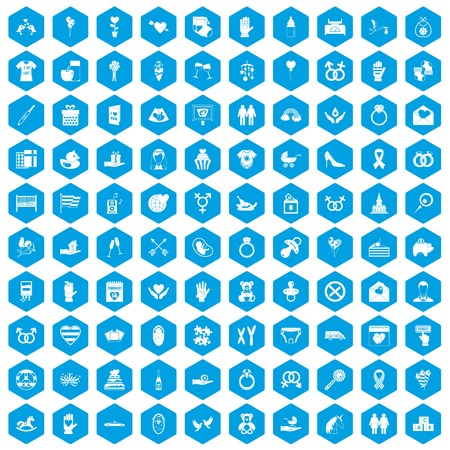 100 love icons set in blue hexagon isolated vector illustration
