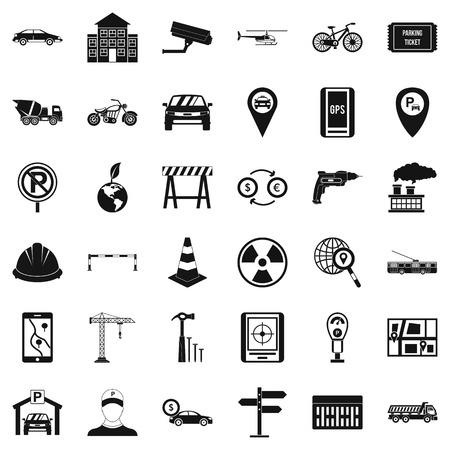 Car place icons set. Simple style of 36 car place vector icons for web isolated on white background