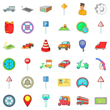 Car icons set. Cartoon style of 36 car vector icons for web isolated on white background Ilustração