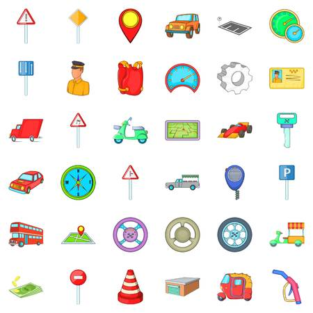 Traffic icons set. Cartoon style of 36 traffic vector icons for web isolated on white background