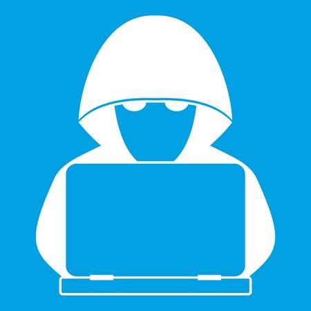 Computer hacker with laptop icon white isolated on blue background vector illustration