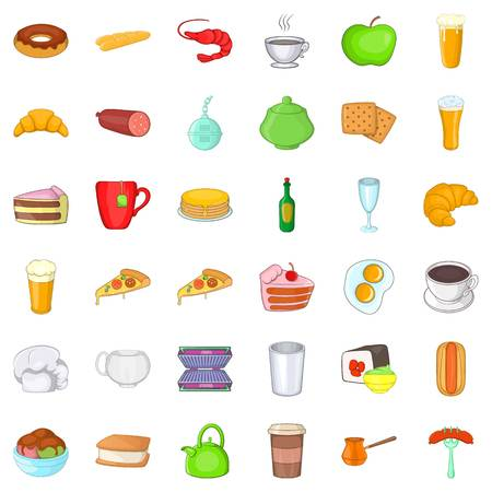Cafe food icons set. Cartoon style of 36 cafe food vector icons for web isolated on white background
