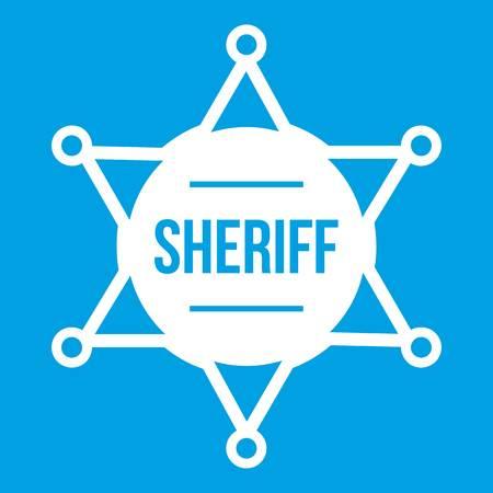 Sheriff badge icon white isolated on blue background vector illustration