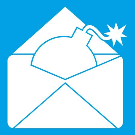 email bomb: Envelope with bomb icon white isolated on blue background vector illustration Illustration