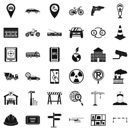 Car icons set. Simple style of 36 car vector icons for web isolated on white background