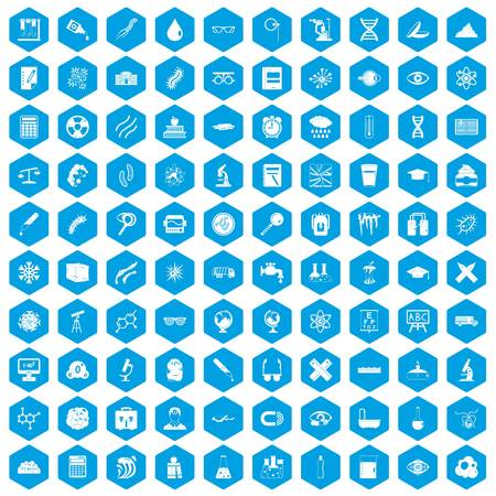 eyepiece: 100 microscope icons set in blue hexagon isolated vector illustration