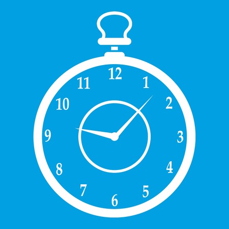Watch icon white isolated on blue background vector illustration Illustration