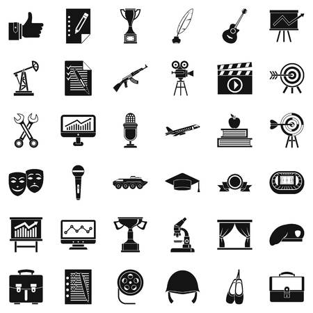 oil lamp: Raising career icons set. Simple style of 36 raising career vector icons for web isolated on white background