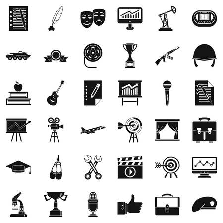 oil lamp: Working target icons set. Simple style of 36 working target vector icons for web isolated on white background Illustration