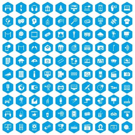100 ikon multimedialnych w niebieskim sześcioboczku pojedyncze ilustracji wektorowych