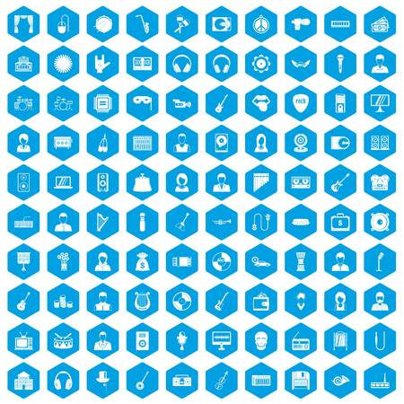 operetta: 100 music icons set in blue hexagon isolated vector illustration