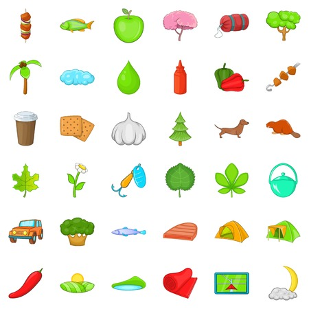 Forest camping icons set. Cartoon style of 36 forest camping vector icons for web isolated on white background Illustration