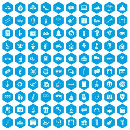 poppers: 100 mask icons set blue illustration. Illustration