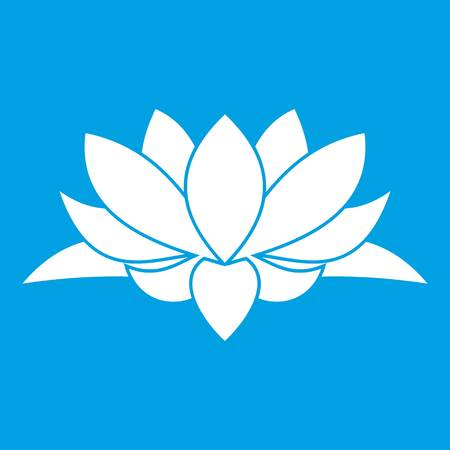 om sign: Lotus flower icon white isolated on blue background vector illustration