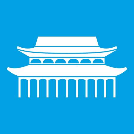 chinatown: Buddha Toothe Relic Temple icon white isolated on blue background vector illustration