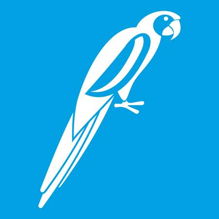 aviary: Parrot icon white isolated on blue background vector illustration