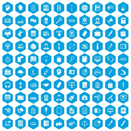 100 office work icons set in blue hexagon isolated vector illustration