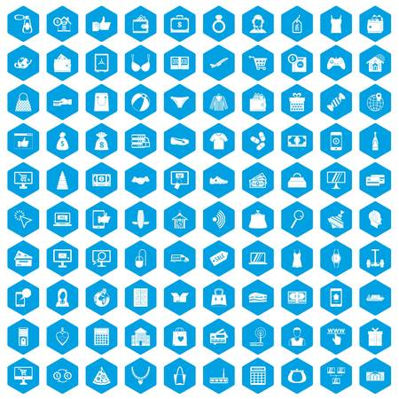 gift basket: 100 online shopping icons set in blue hexagon isolated vector illustration