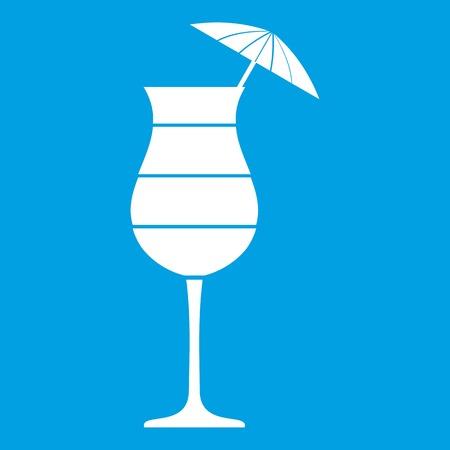 Layered cocktail with umbrella icon white illustration.