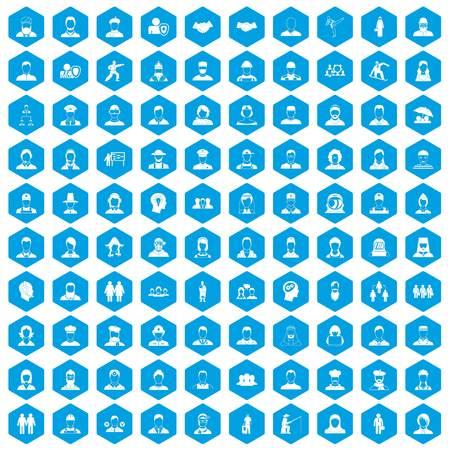 100 people icons set blue illustration.