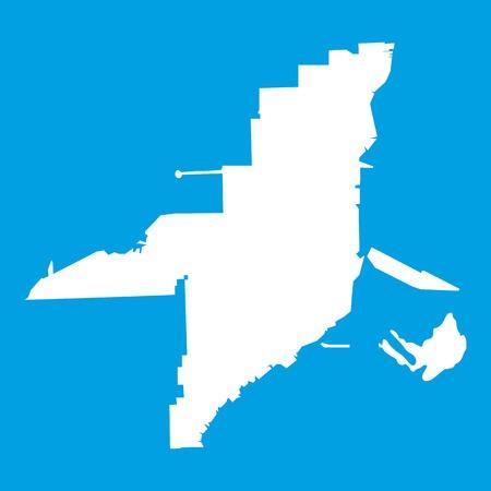Florida map icon white isolated on blue background vector illustration