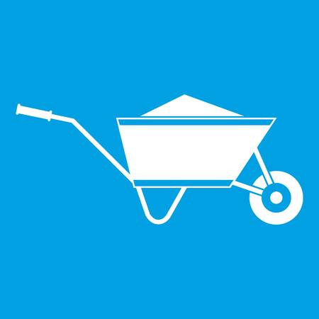 Wheelbarrow with sand icon white illustration. Illustration