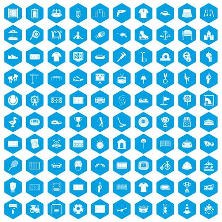 drill: 100 playground icons set blue illustration. Illustration